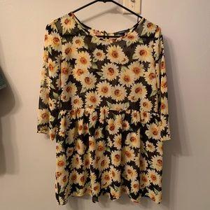 Sunflower chiffon tunic 🌻